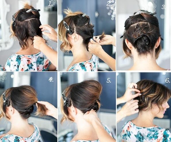 آموزش شینیون موی کوتاه
